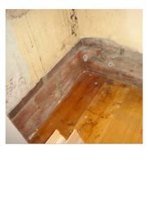 Exposed brickwork reveals no damp proof course.
