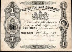 The Oriental Bank, Melbourne, One Pound