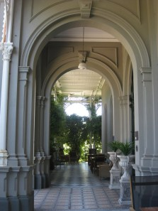 Ornate archways on verandah of heritage Rupertswood Estate Mansion