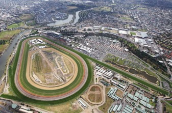 MELBOURNE, AUSTRALIA - NOVEMBER 03: A general view of the the AAMI Victoria Derby during Victorian Derby Day at Flemington Racecourse on November 3, 2012 in Melbourne, Australia. (Photo by Ryan Pierse/Getty Images)