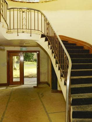 A staircase inside the mansion.