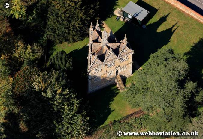 aerial photograph of Rushton Triangular Lodge Northamptonshire